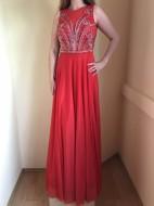 Rochie lunga de ocazie culoare rosie din voal cu aplicatii strasuri;