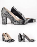 Pantofi Guban, piele naturala box negru/gri combinat cu velur, toc 9.5cm, numar 26
