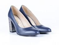 Pantofi Guban, piele naturala, toc 9,5cm, culoare bleumarin.