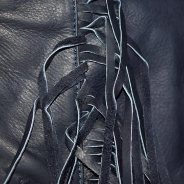 Plic bleumarin franjuri piele naturala Comino