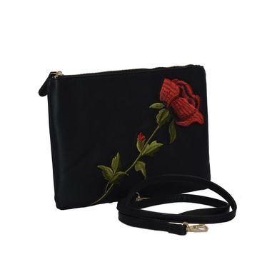 Plic negru broderie trandafir Campobasso
