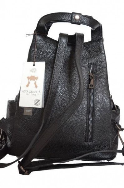 Rucsac negru din piele naturala Treviso