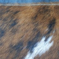 Geanta din piele naturala neagra cu blanita maro cu alb Rapino