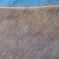 Geanta din piele naturala neagra cu blanita maro Rapino