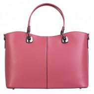 Geanta roz, din piele naturala, ROMA