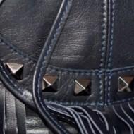 Geanta bleumarin tip bucket din piele naturala Rosello