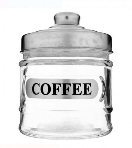 Borcan din sticlă cu capac metalic pentru cafea 250 ml.