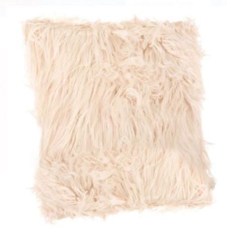Perna decorativa blana artificiala lunga roz praf