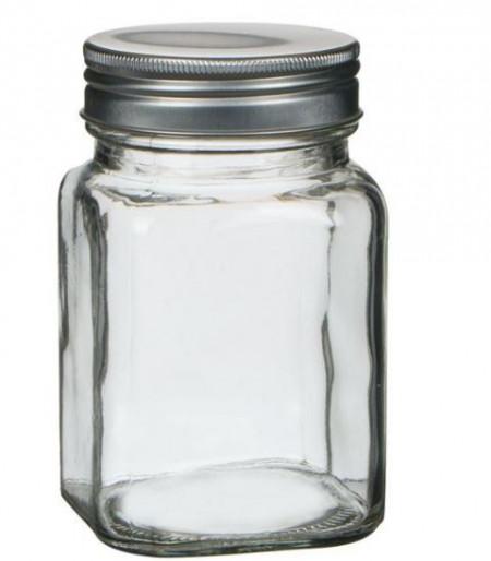 Borcan de depozitare din stica cu capac din aluminiu 380 ml