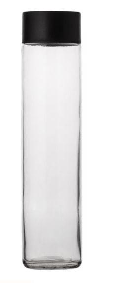 Flacon sticlă transparentă cu capac negru din plastic.