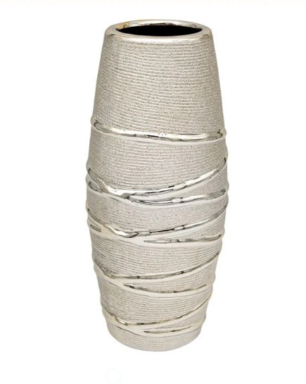 Vază Decorativă din Ceramică - Șampanie Modele Linii 7,5x26 cm