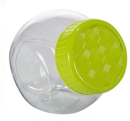 Borcan din sticla cu capac de plastic 500 ml- verde