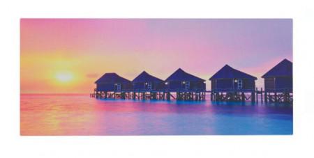 Tablou canvas LED Apus in Maldives 70x30x1,5 cm