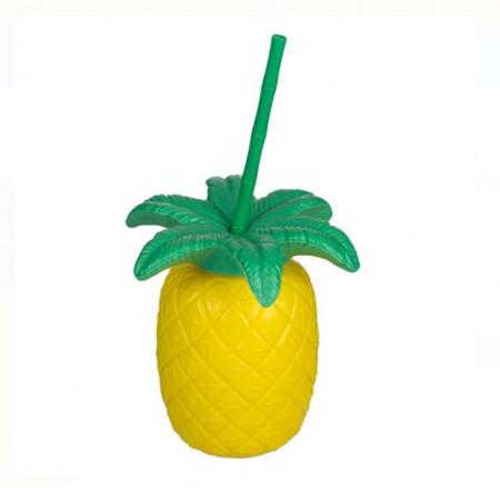 Pahar din plastic cu pai si capac - model ananas - 700ml