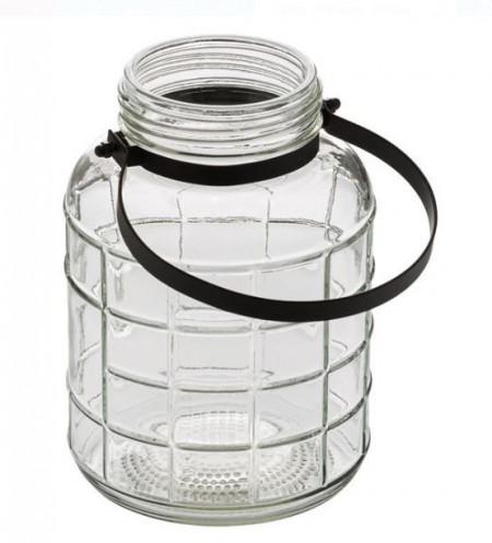 Vaza decorativa din sticla cu maner metalic