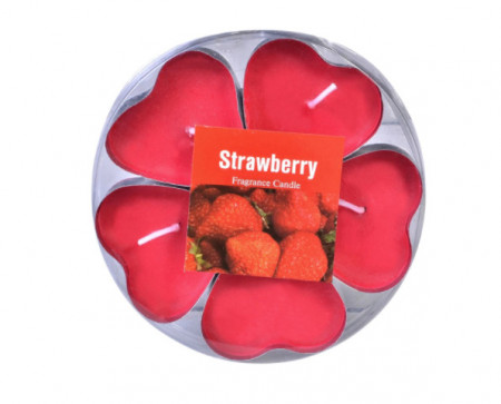 Set 5 lumanari parfumate, model in forma de inima, capsune, 4x3 cm, rosu