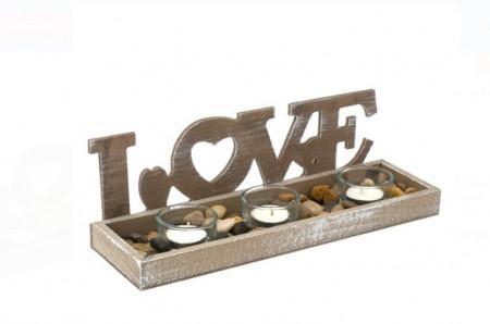 Set baza din lemn, sfesnice si pietre decorative - Love 31x9,5x10 cm