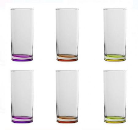 Set pahare de apă din sticlă transparentă cu fundul colorat în portocaliu, violet și verde