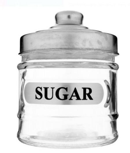 Borcan din sticlă cu capac metalic pentru zahăr 250 ml.