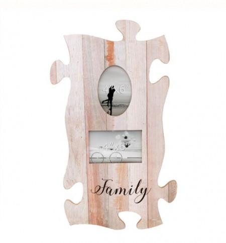 Rama foto puzzle din lemn - (2 poziții) 55x32 cm