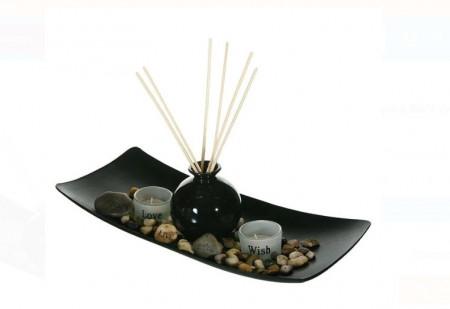 Set baza din lemn, sfesnice si vaza pentru aromatice