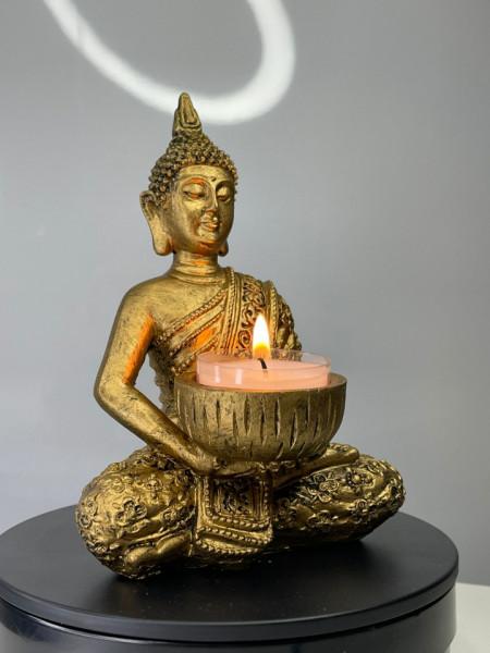 Suport lumanare decorativ - Buddha - 11x14 cm