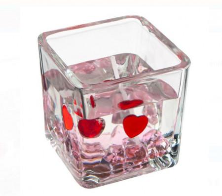 Lumanare gel in sticla transparenta cu pietre in forma de inima - 5x5.3cm