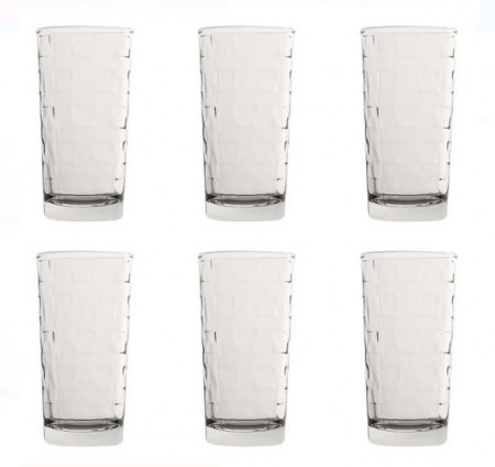 Set pahare de apă din sticlă transparentă cu design cubic