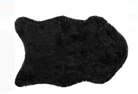 Covoras din blana, negru, poliester - 55x90 cm