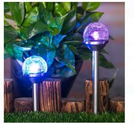 Lanterna solara din sticlă cu culori alternative 23 cm
