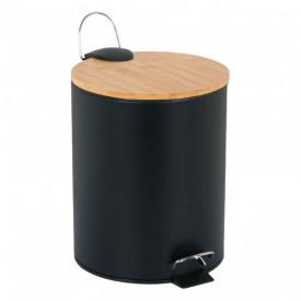 Cos de gunoi metalic cu capac din bambus cu pedala - 5L