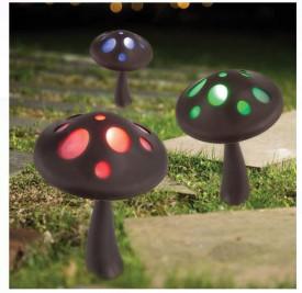 Ciupercă solara LED cu lumina colorată 18x27 cm - 1 buc.