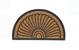 Covor de ușă - Covor de ușă Semicerc Maro Negru Linii - 70x40 cm