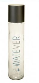 Flacon sticlă transparentă cu capac si mesaj WATEVER