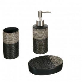Set baie ceramica 3 piese efect mozaic negru