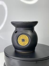 Suport pentru lumanare din ceramică neagră pentru aromaterapie