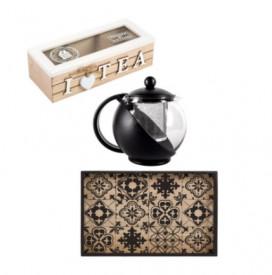 Set servire ceai (ceainic 1.25 lt, cutie depozitare ceai, tava servire lemn)