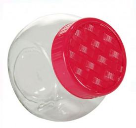 Borcan de depozitare cu capac de plastic 750 ml - rosu