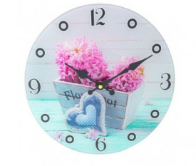 Ceas decorativ pentru perete, model floral, 30 cm, multicolor