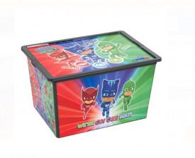 Cutie de depozitare cu capac si roti - PJ MASKS 50L - 52,5x37x31 cm