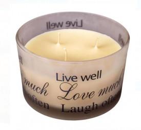 Lumanare parfumata in pahar rotund - mesaj - 7,8X12,8 cm