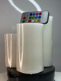 Set 3 lumanari,cu led si telecomanda care isi schimba culoarea