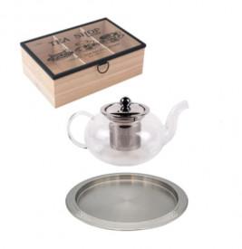 Set servire ceai (ceainic 600 ml, cutie depozitare ceai, tava servire inox)