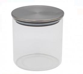 Borcan de depozitare din sticlă transparentă cu capac metalic 350 ml