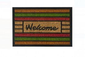 """Covor de ușă - dungi colorate - Mesaj """"Bun venit"""" 60x40 cm"""