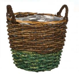 Masca decorativa pentru ghiveci cu manere in culoare maro / verde