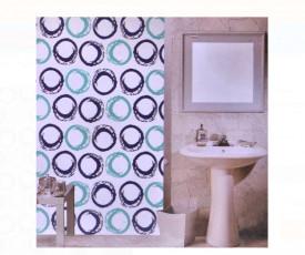 Perdea baie - cercuri albastre - 180x180cm