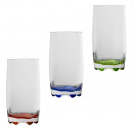 Set pahare din sticla transparentă cu fundul colorat