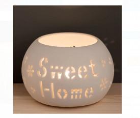 Suport lumanare decorativ - Porțelan Oval Alb Perforat - 11x8 cm