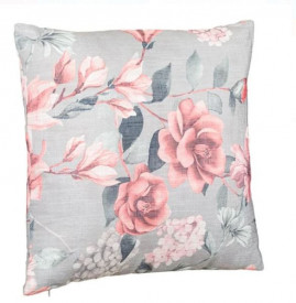 Perna decorativa cu imprimeu floral gri